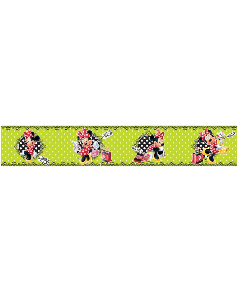 Minnie Mouse Polka Dot Green Self Adhesive Wallpaper Border 5m