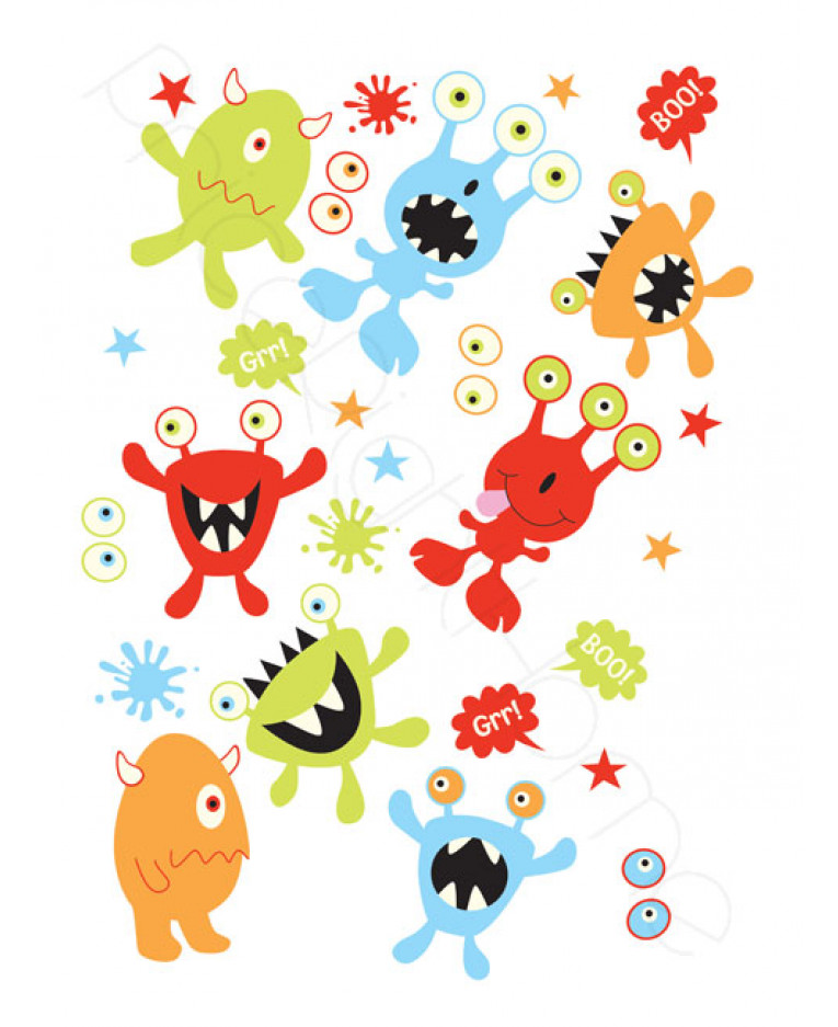 Monsters Glow In The Dark Wall Stickers 27 Pieces