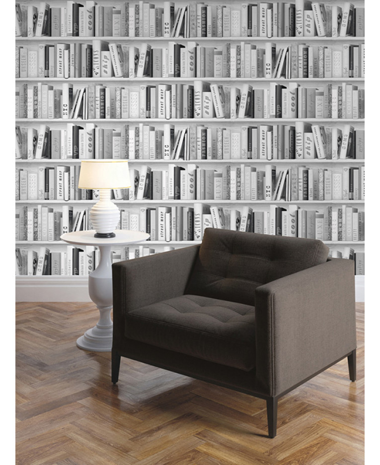 Fashion Library Bookcase Wallpaper - Silver - 139502   Decor   Feature