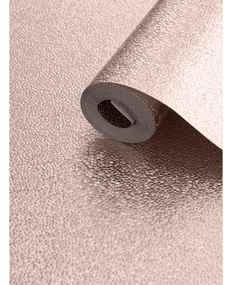 Muriva Amelia Metallic Textured Wallpaper - Rose Gold 701431 | Feature