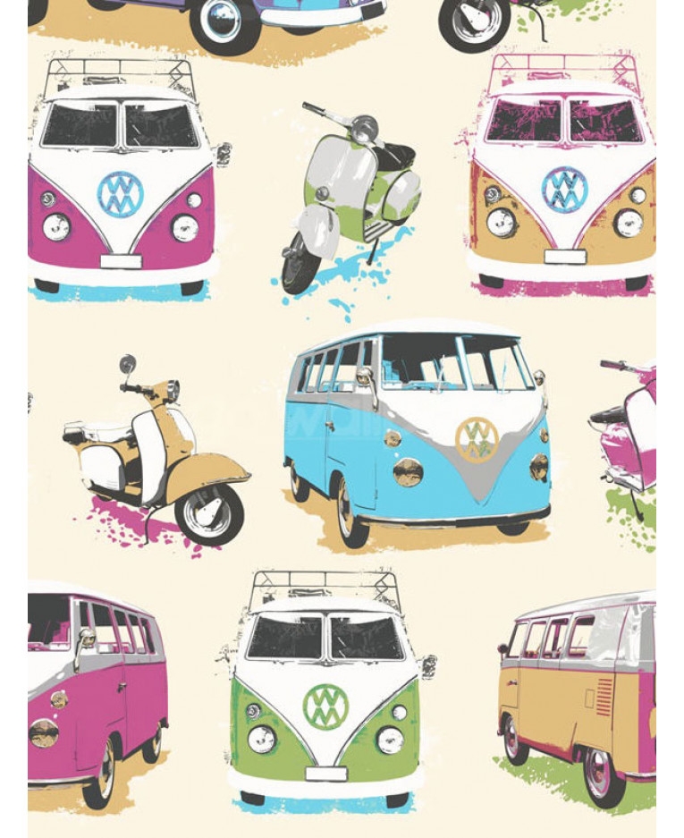 Muriva Vw Campervans And Scooters Wallpaper J05901