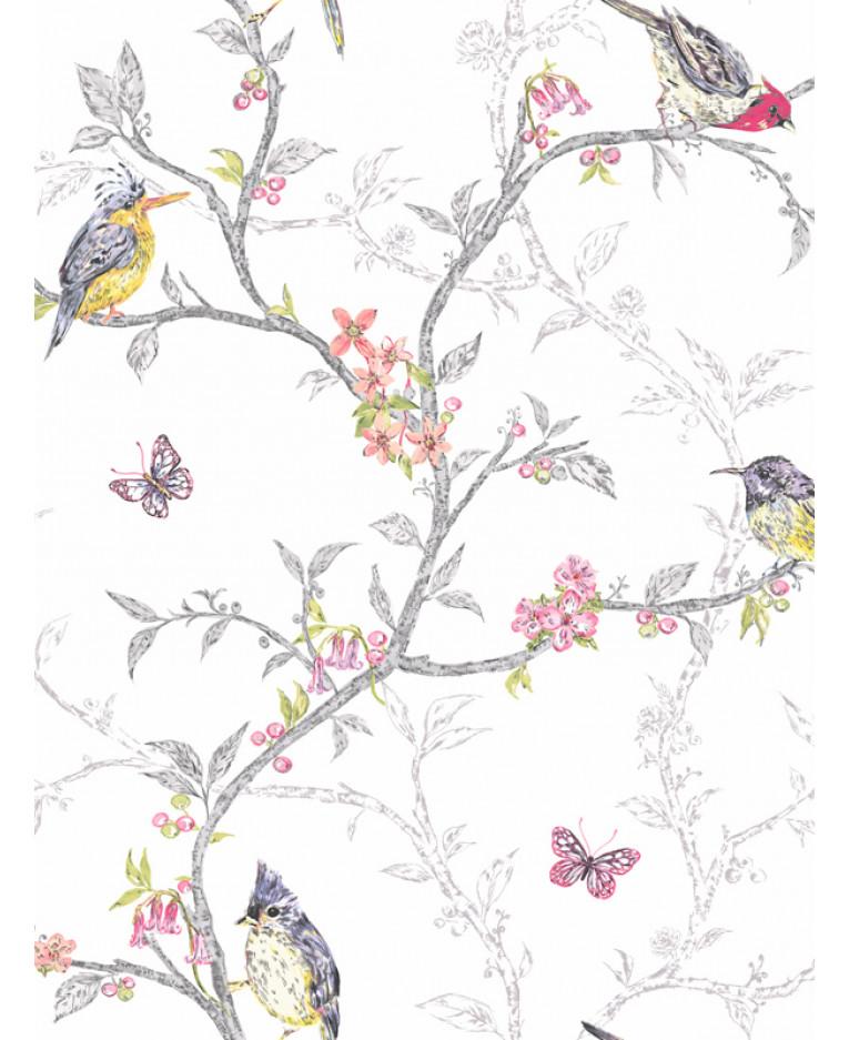 Phoebe Birds Wallpaper White 98080 Decor Feature