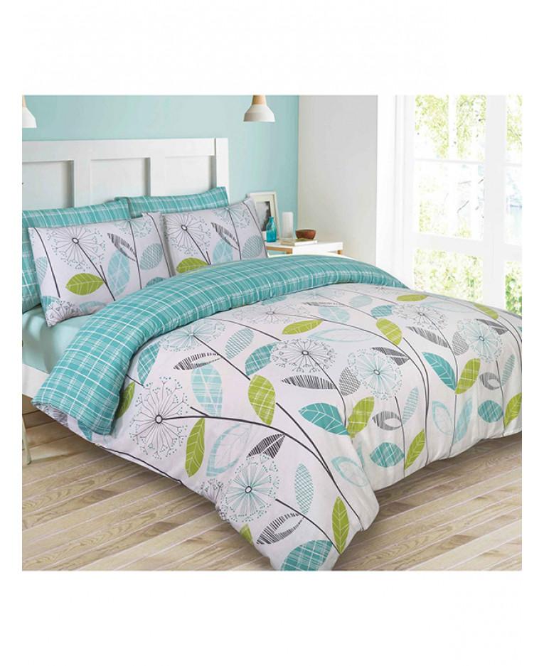 allium dandelion teal king size duvet cover and pillowcase set