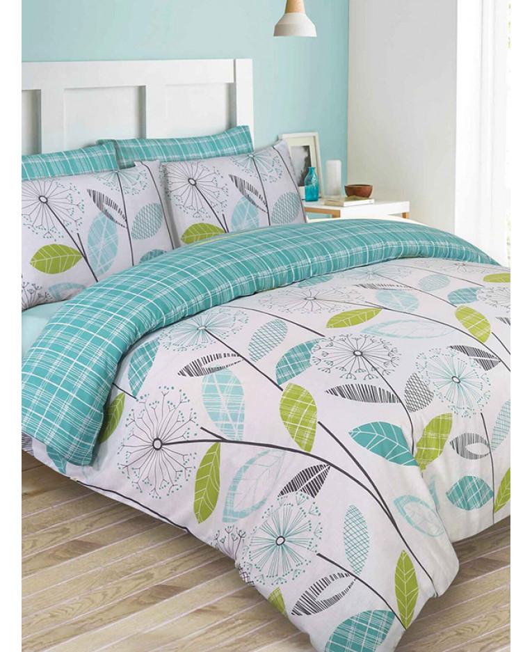 allium dandelion king size duvet cover and pillowcase set teal