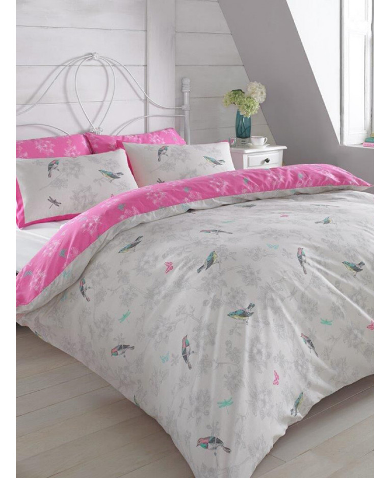 Vintage Birds Pink King Size Duvet Cover And Pillowcase Set