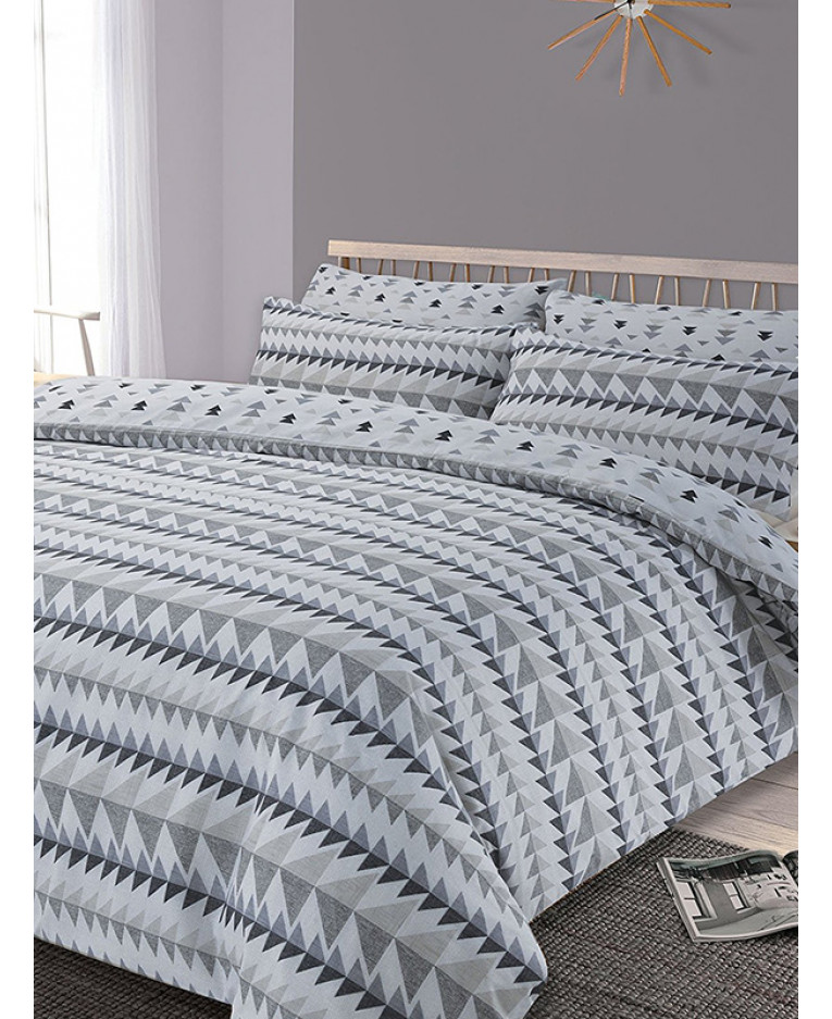 Rewind Geometric Double Duvet Cover And Pillowcase Set Grey