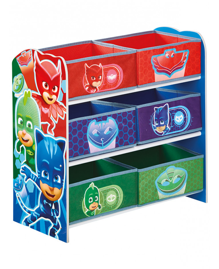 Dinosaurs Mdf Toy Box Childrens Storage Toys Games Books: PJ Masks 6 Bin Storage Unit