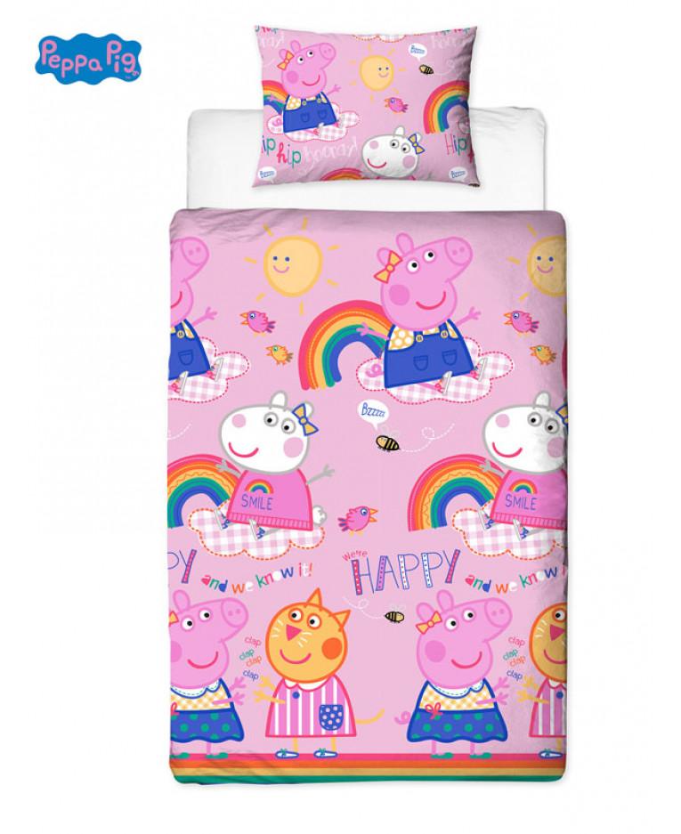 Peppa Pig Hooray Single Duvet Cover Set Rotary Design