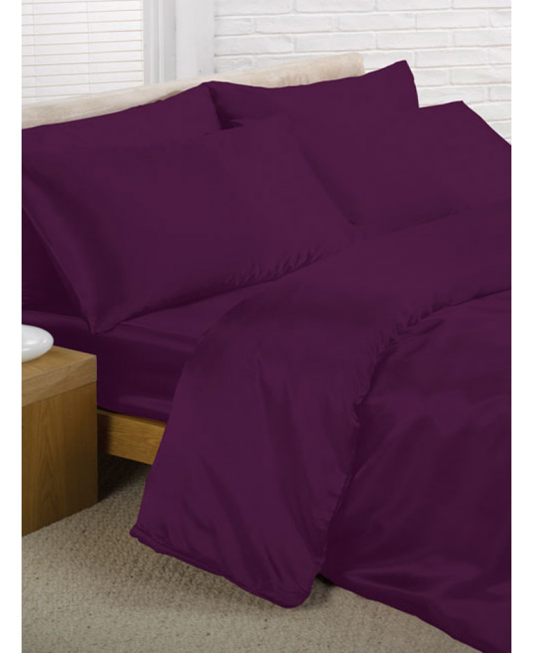 Purple Satin Double Duvet Cover Fitted Sheet And 4