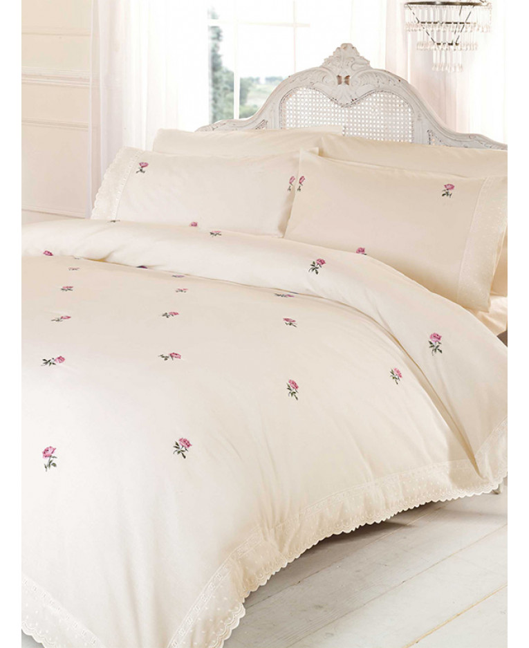 Alicia Fl Cream Pink King Size Duvet Cover Bedding Set