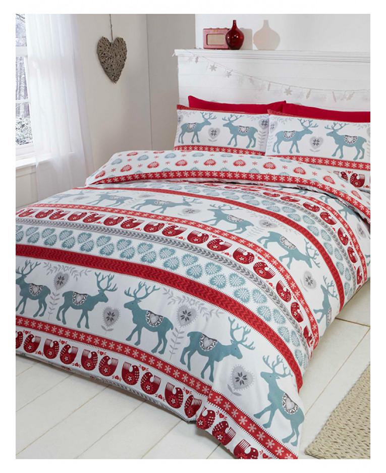 Scandi Christmas Brushed Cotton King Size Duvet Cover Set