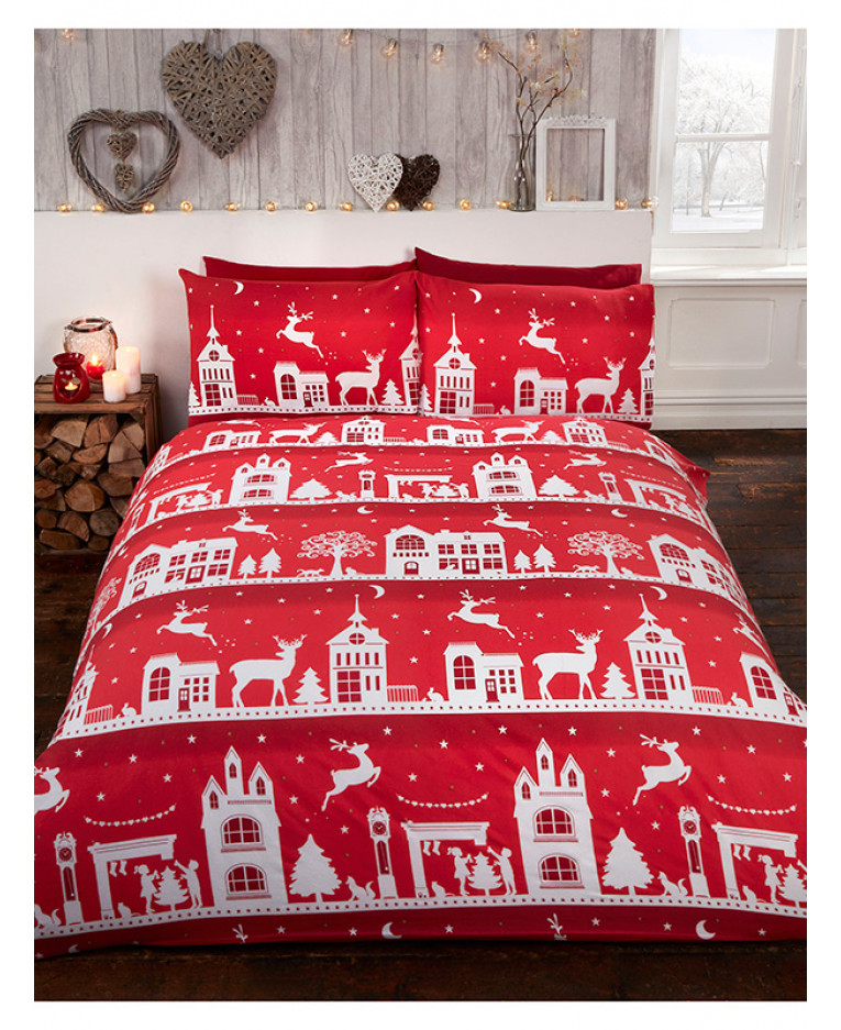 Reindeer Road Brushed Cotton Christmas King Size Duvet Cover Set Red