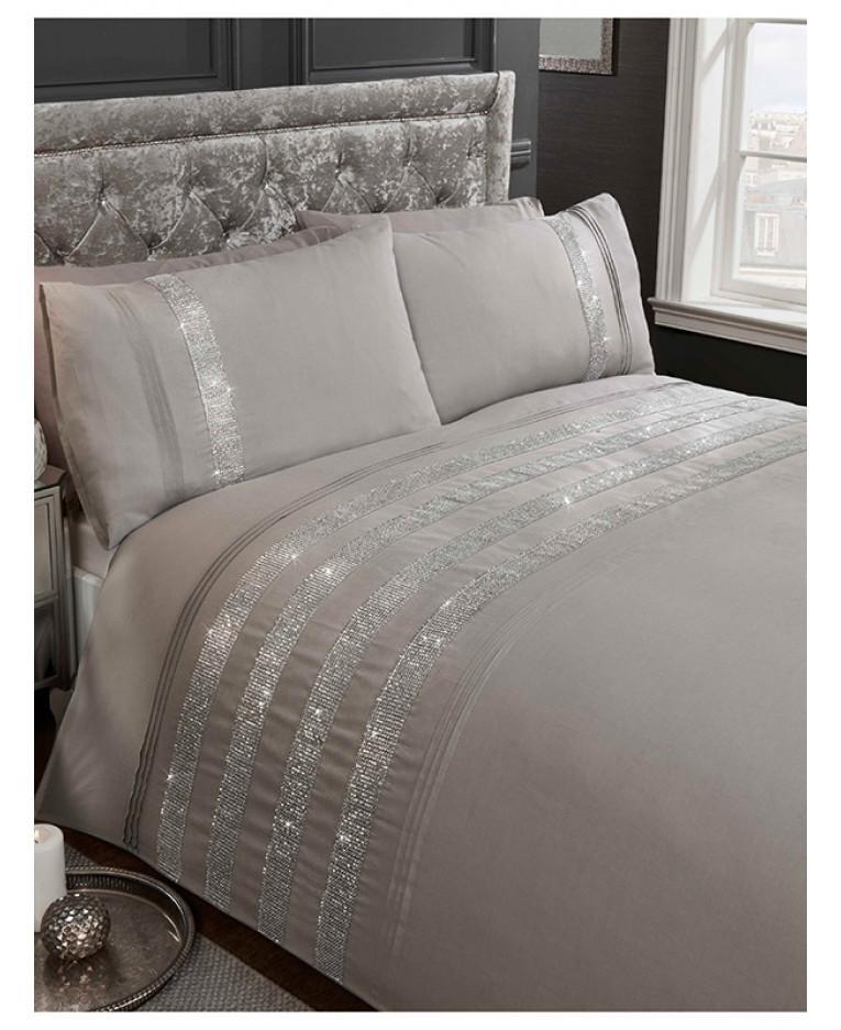Carly Diamante Grey King Size Duvet