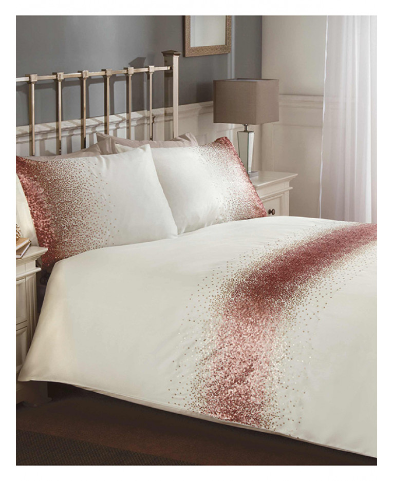 Shimmer Sequin Blush Pink King Size Duvet Cover Set Bedroom