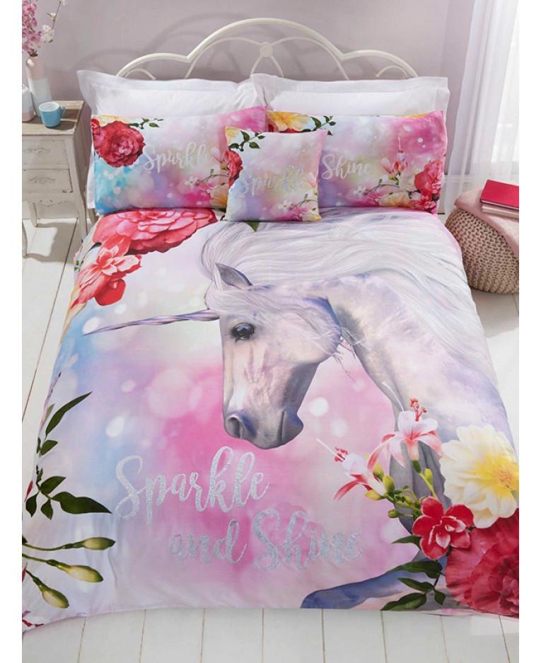 Sparkle Unicorn Single Duvet Cover And, Sparkle Bedding Set Single