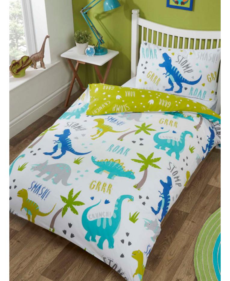 Bedding Sets & Duvet Covers Dinosaur Rawrsome Reversible Duvet Quilt Cover Set Single Home, Furniture & DIY