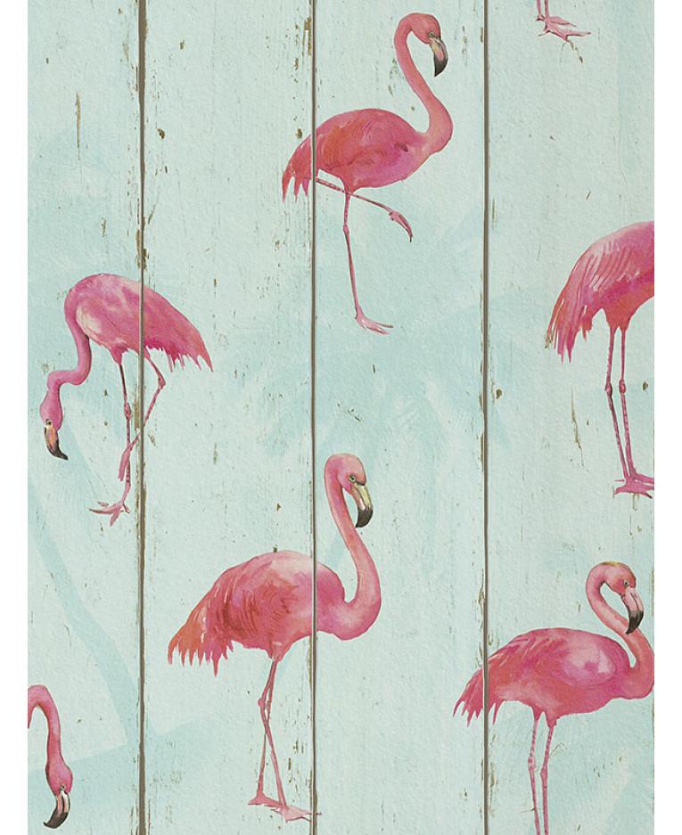 rasch barbara becker flamingo wallpaper teal 479706 feature bedroom. Black Bedroom Furniture Sets. Home Design Ideas