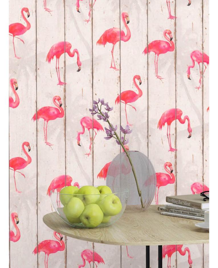 rasch barbara becker flamingo wallpaper natural 479720 feature bedroom. Black Bedroom Furniture Sets. Home Design Ideas