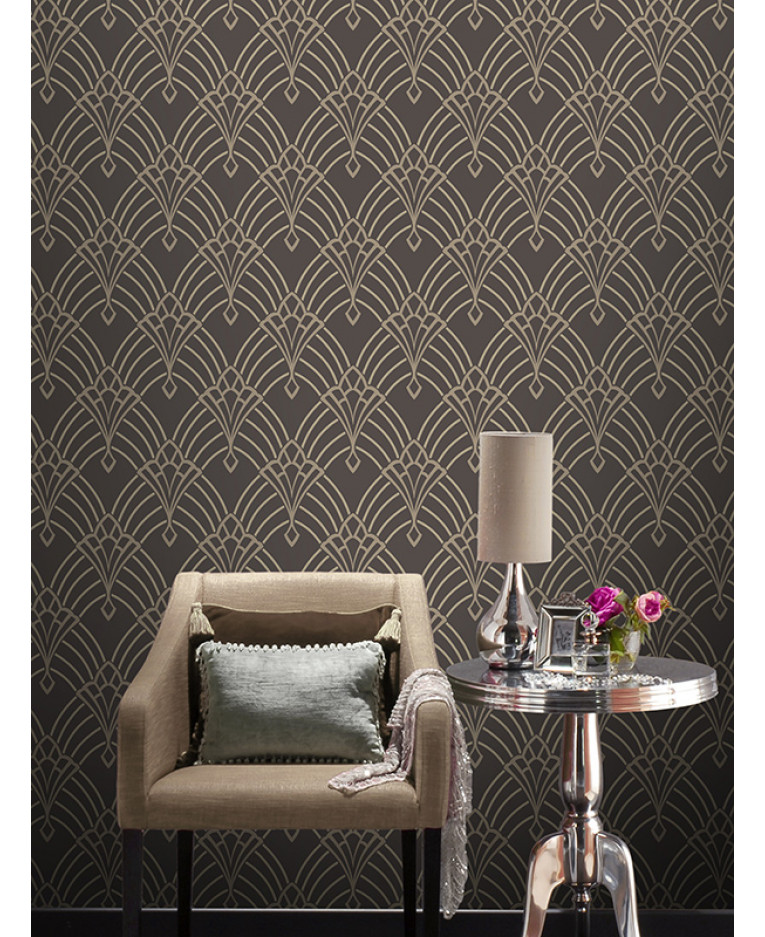 astoria deco wallpaper charcoal and silver rasch 305319 feature. Black Bedroom Furniture Sets. Home Design Ideas