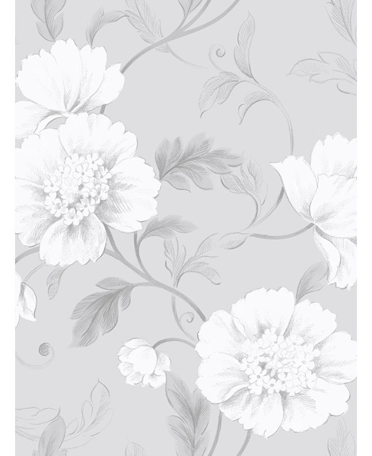Boutique floral wallpaper grey rasch 226188 feature for Gray and white wallpaper designs