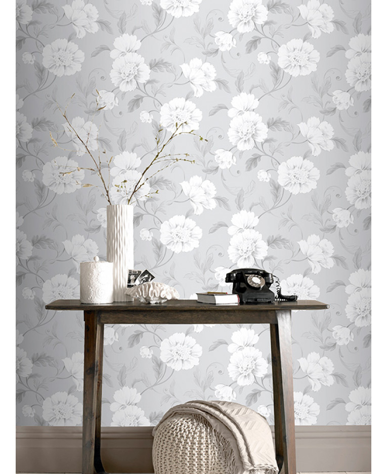 Boutique floral wallpaper grey rasch 226188 feature for Grey wallpaper for walls