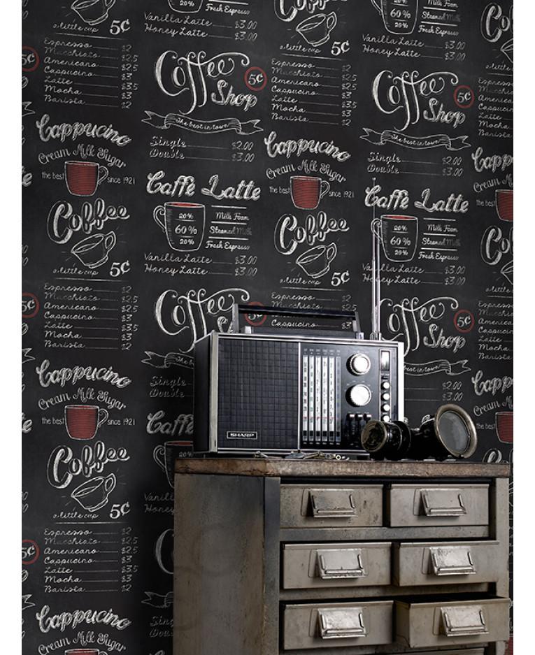 Coffee Shop Blackboard Wallpaper Rasch 234602 Feature