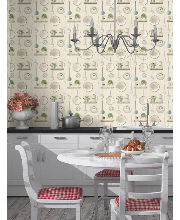 Kitchen Wallpaper Decor: Kitchen Utensils Vinyl Wallpaper Cream Rasch 307108