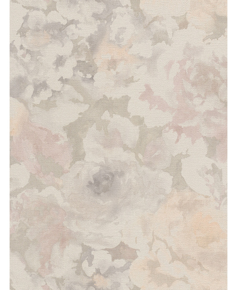 Florentine Floral Fabric Effect Wallpaper Grey And Pale Pink Rasch 455656