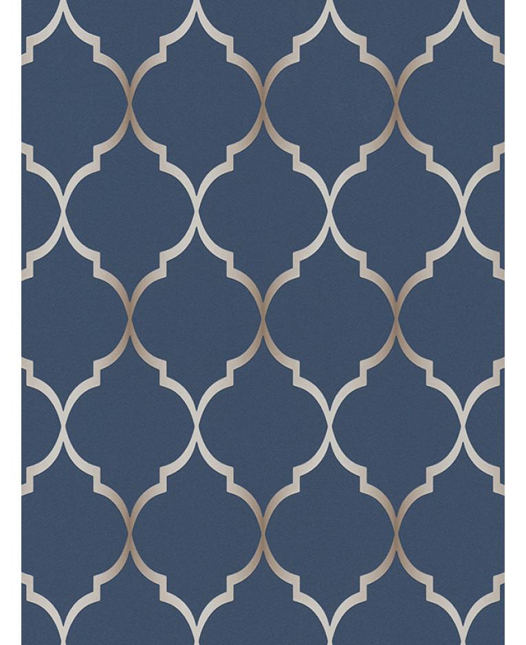 Fretwork Geometric Wallpaper Midnight Blue Rasch 701647