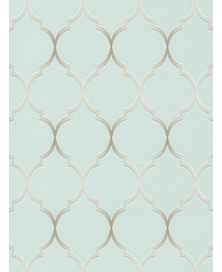 Fretwork Geometric Wallpaper Duck Egg Blue Rasch 701616
