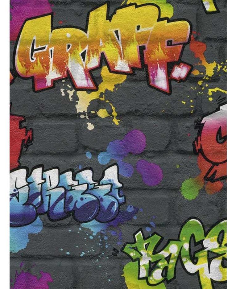 Rasch Graffiti Wallpaper Black 237801