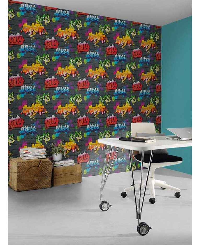 Rasch Graffiti Wallpaper - Black 237801
