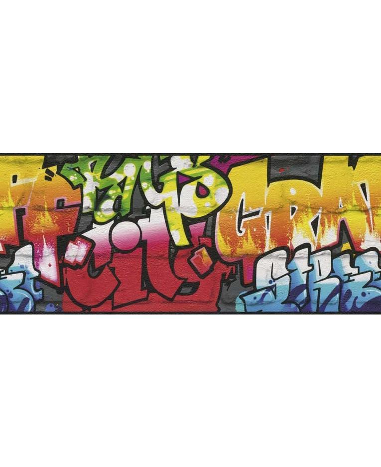 Rasch Graffiti Wallpaper Border Black 237900