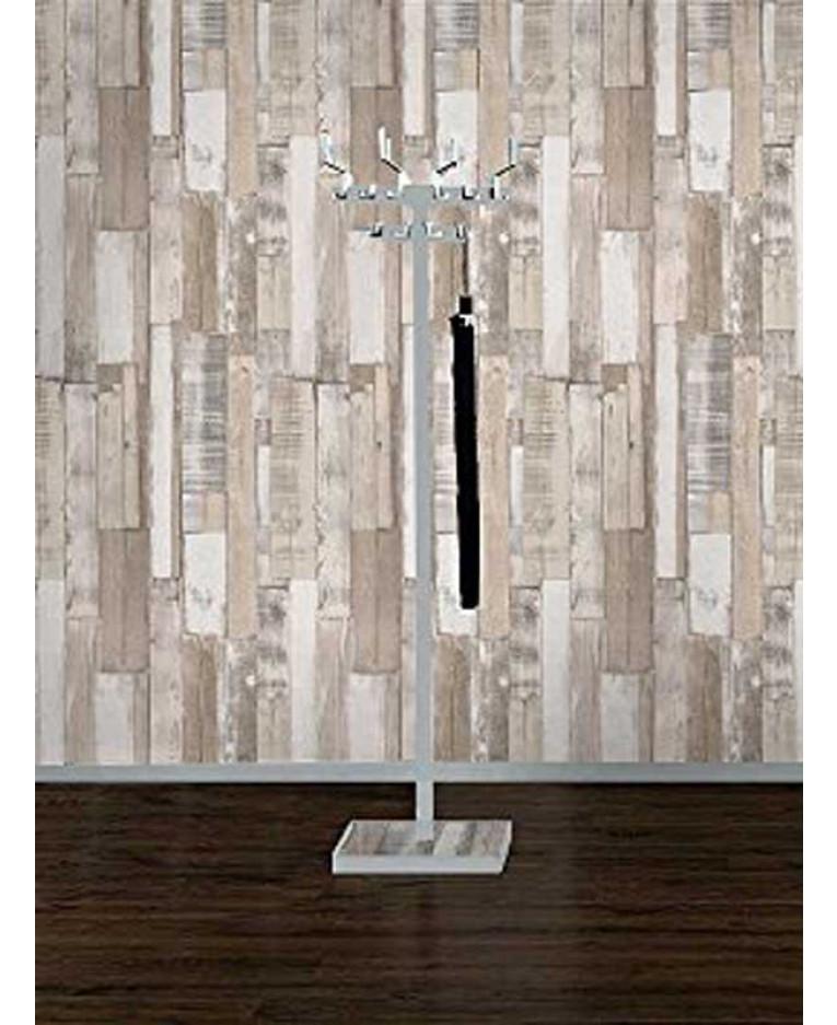 Rasch wood board panel wallpaper white 203714 for Wooden wallpaper price