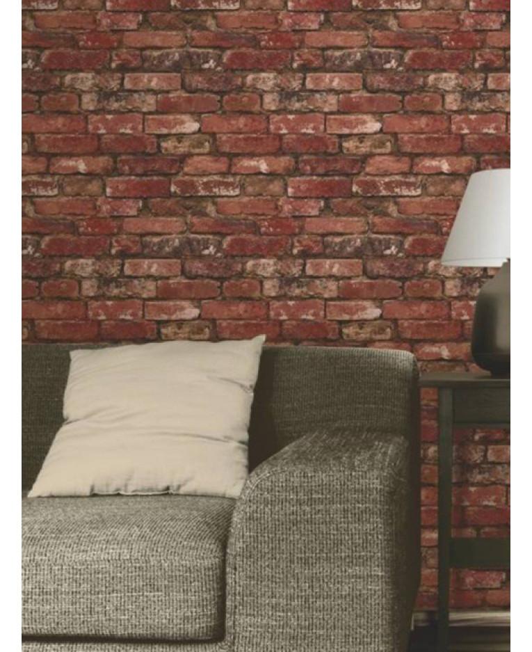 Luxury Fine Home Interior: Red Brick Effect Wallpaper