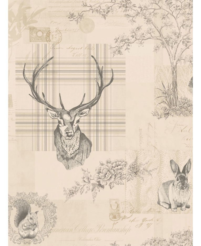 Richmond Highland Stag Wallpaper Charcoal 98012