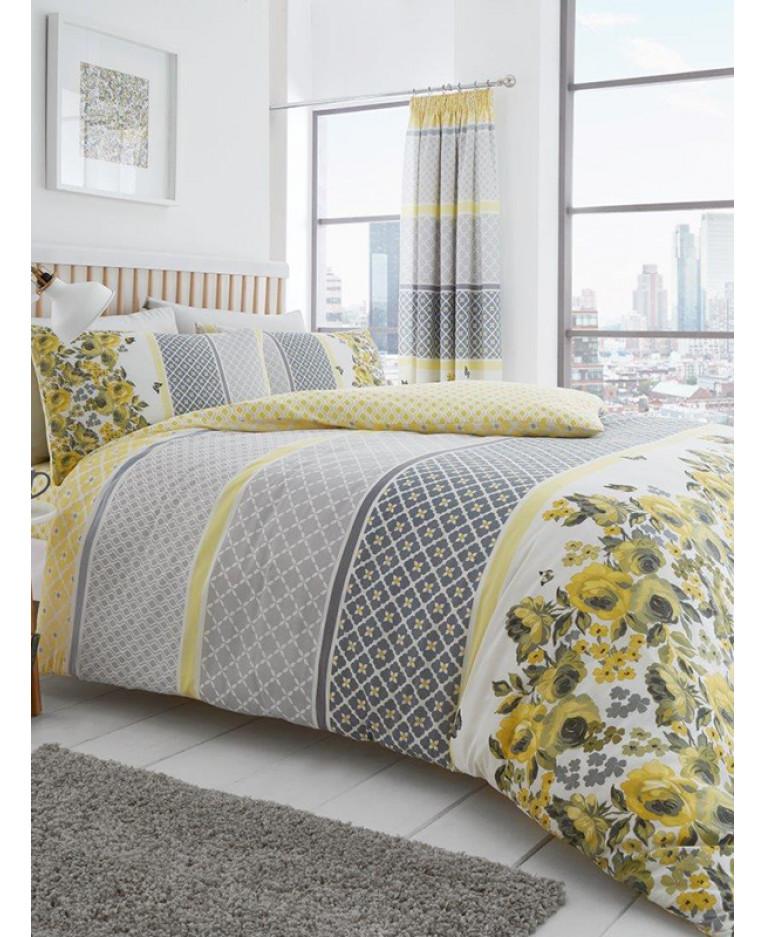 Yellow Fl King Size Duvet Cover Set