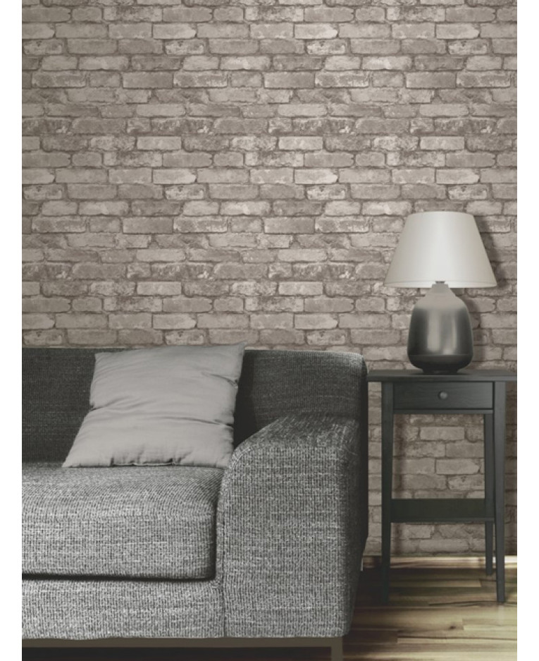 Brick Effect Wallpaper Bedroom Taupe And Blue Bedroom Single Bed Bedroom Designs Bedroom Ideas Cozy: Silver Grey Brick Effect Wallpaper