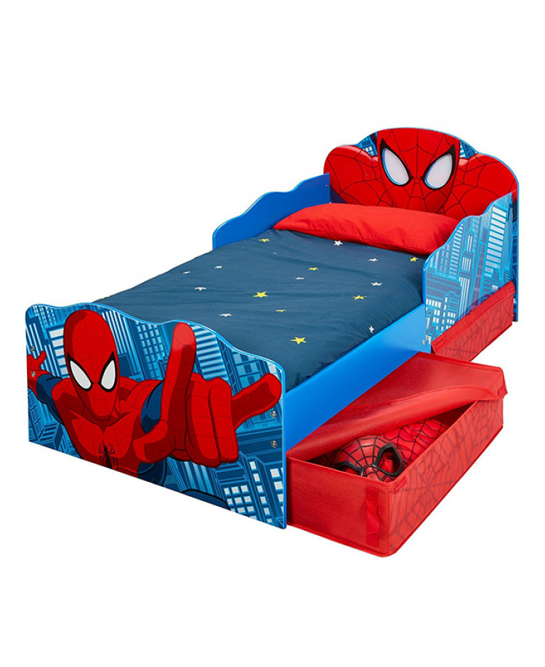spiderman toddler bed with storage and light up eyes. Black Bedroom Furniture Sets. Home Design Ideas