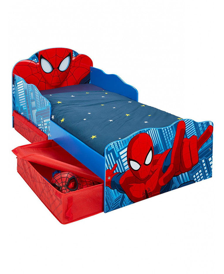 Spiderman Toddler Bed With Light Up Eyes And Storage