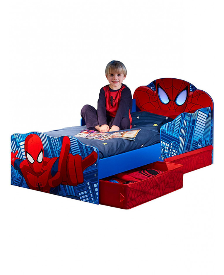 Spiderman Light Up Eyes Toddler Bed Plus Storage