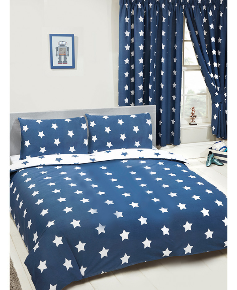 Navy Blue And White Stars Double Duvet Cover Set Bedroom