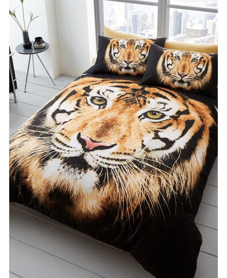 Tiger Face Single Duvet Cover And Pillowcase Set Bedroom