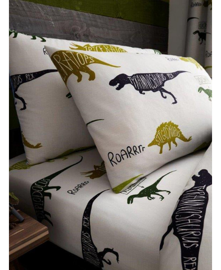 Dinosaurs Single Fitted Sheet And Pillowcase Set Bedding