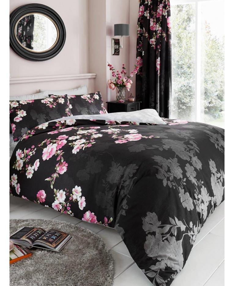 Roseanne Floral King Size Duvet Cover And Pillowcase Set Black