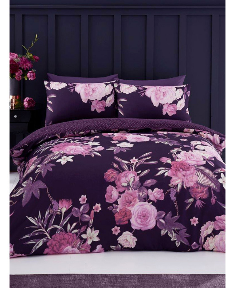 Flora King Size Duvet Cover and Pillowcase Set   Purple