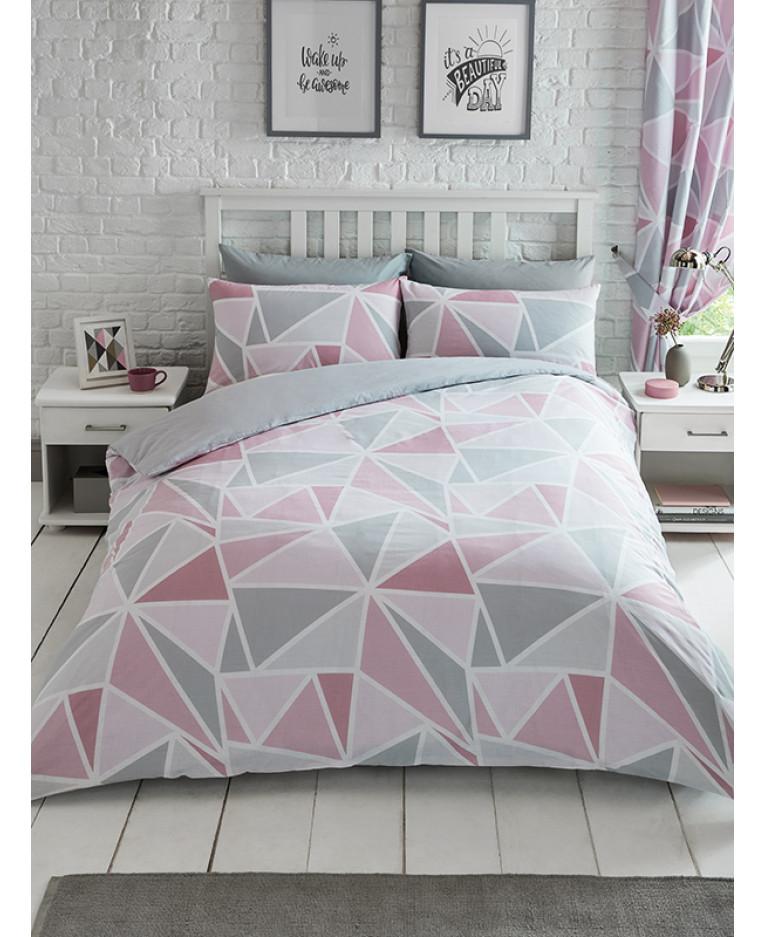 Metro Geometric Triangle King Size Duvet Cover Set Pink