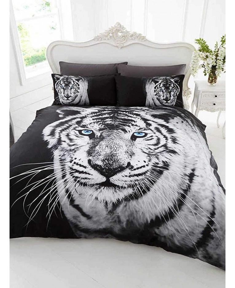3D White Tiger Single Duvet Cover and Pillowcase Set | Bedroom