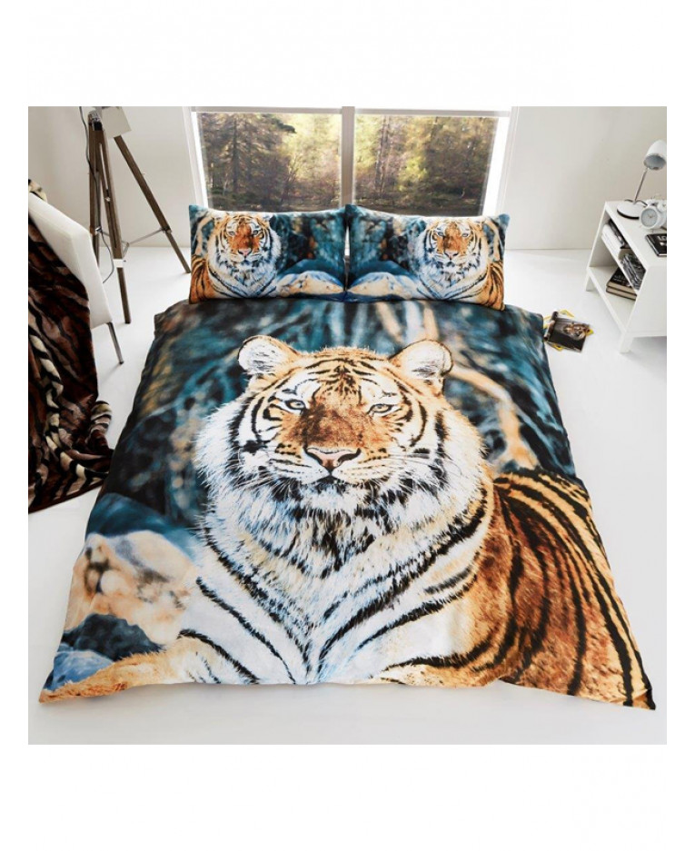 Tiger single duvet cover and pillowcase set bedroom for Taille housse de couette lit 160