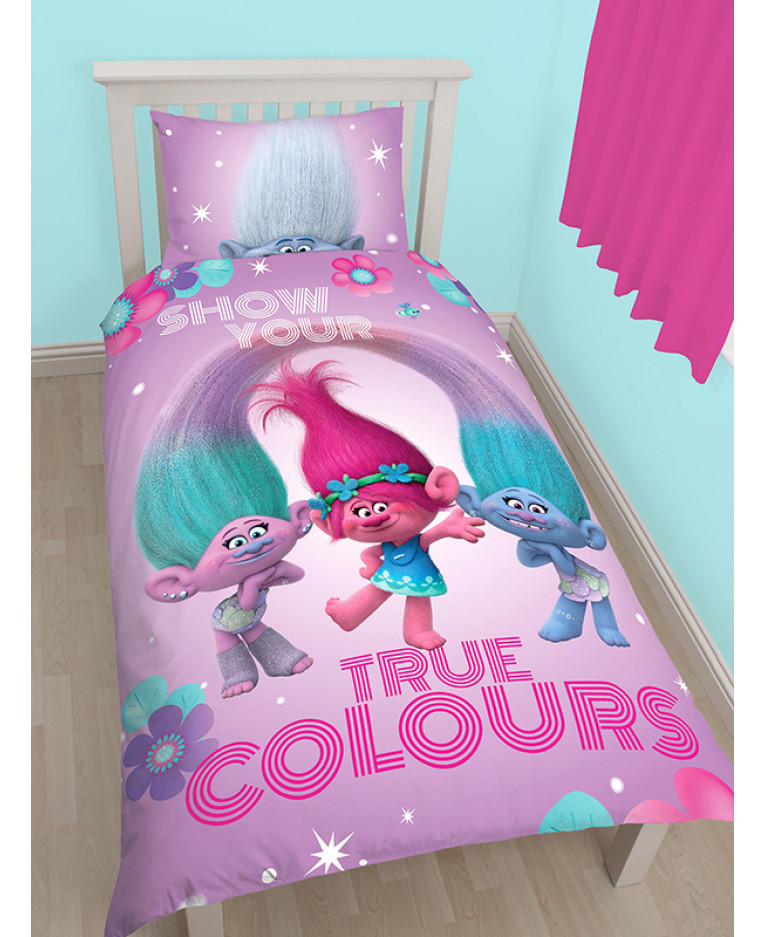Trolls glow single duvet cover and pillowcase set for Housse de couette guy laroche